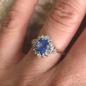 Jewelry - Ceylon Sapphire & Diamond Halo Yellow Gold Ring
